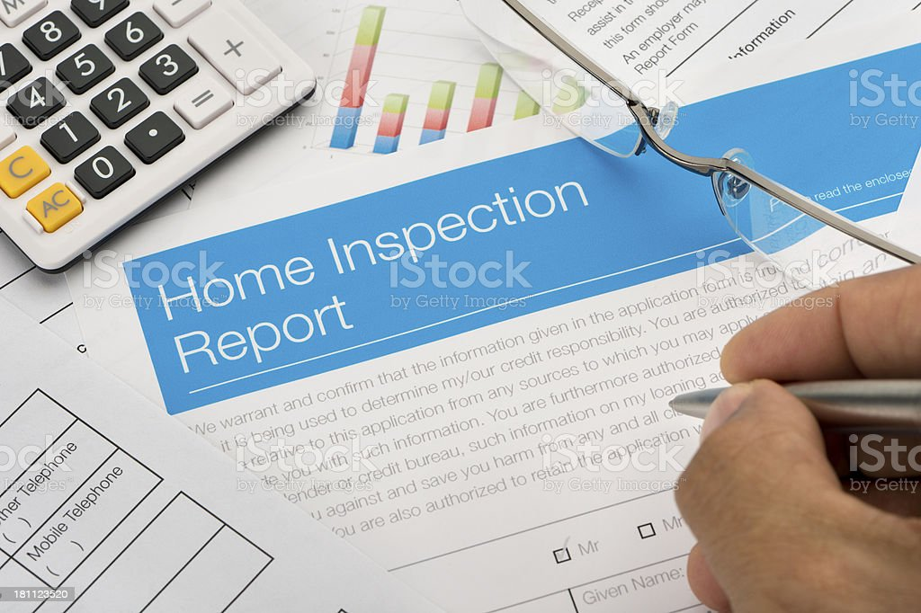 Close up of a home inspection report stock photo