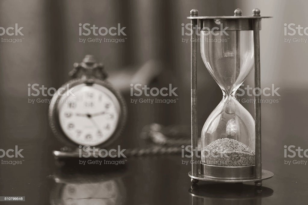 Close up of a hourglass stock photo