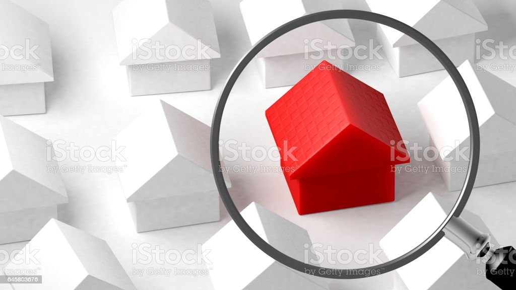 Close up of a house. Focus on its characteristics. 3D Rendering stock photo