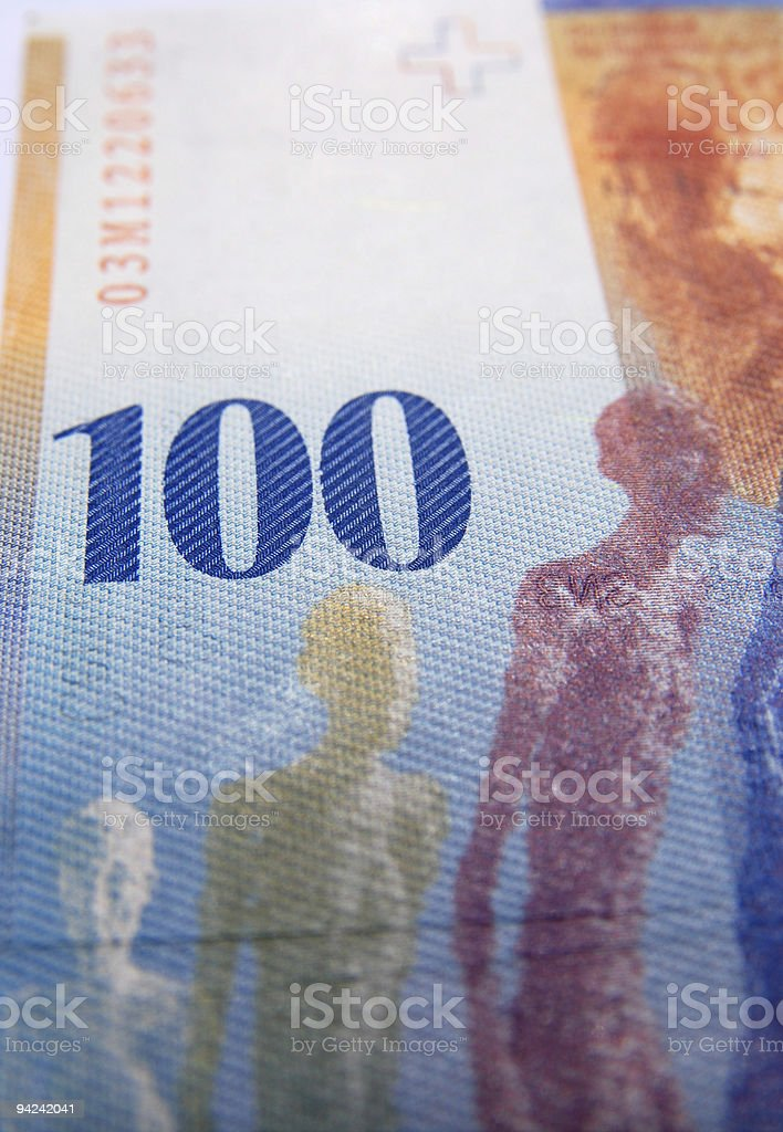 close up of a hundred swiss currency note royalty-free stock photo