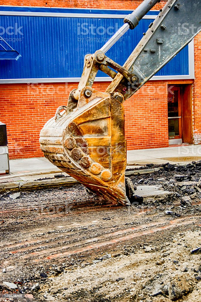 Close up of a hydrolic excavator bucket stock photo