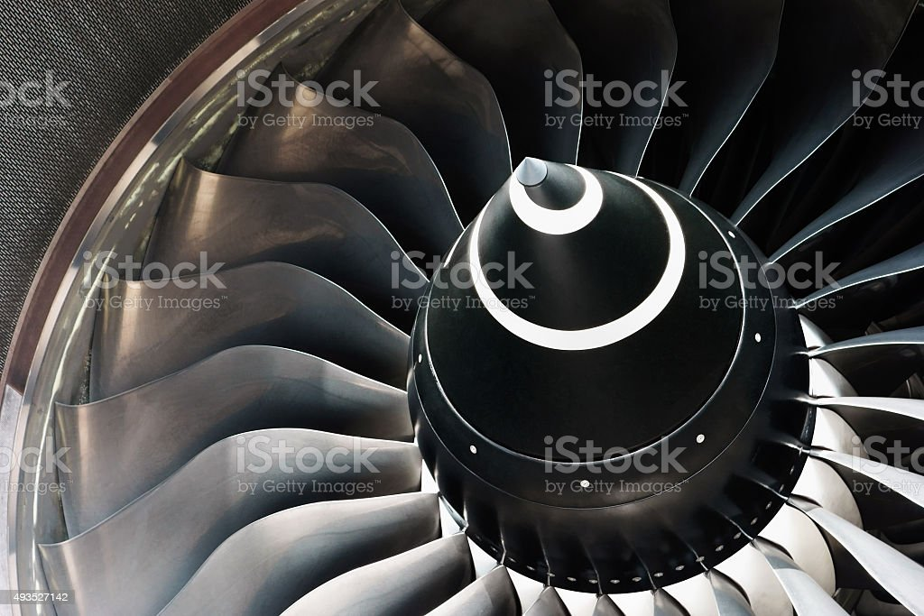 Close Up of a Jet Engine Turbine stock photo