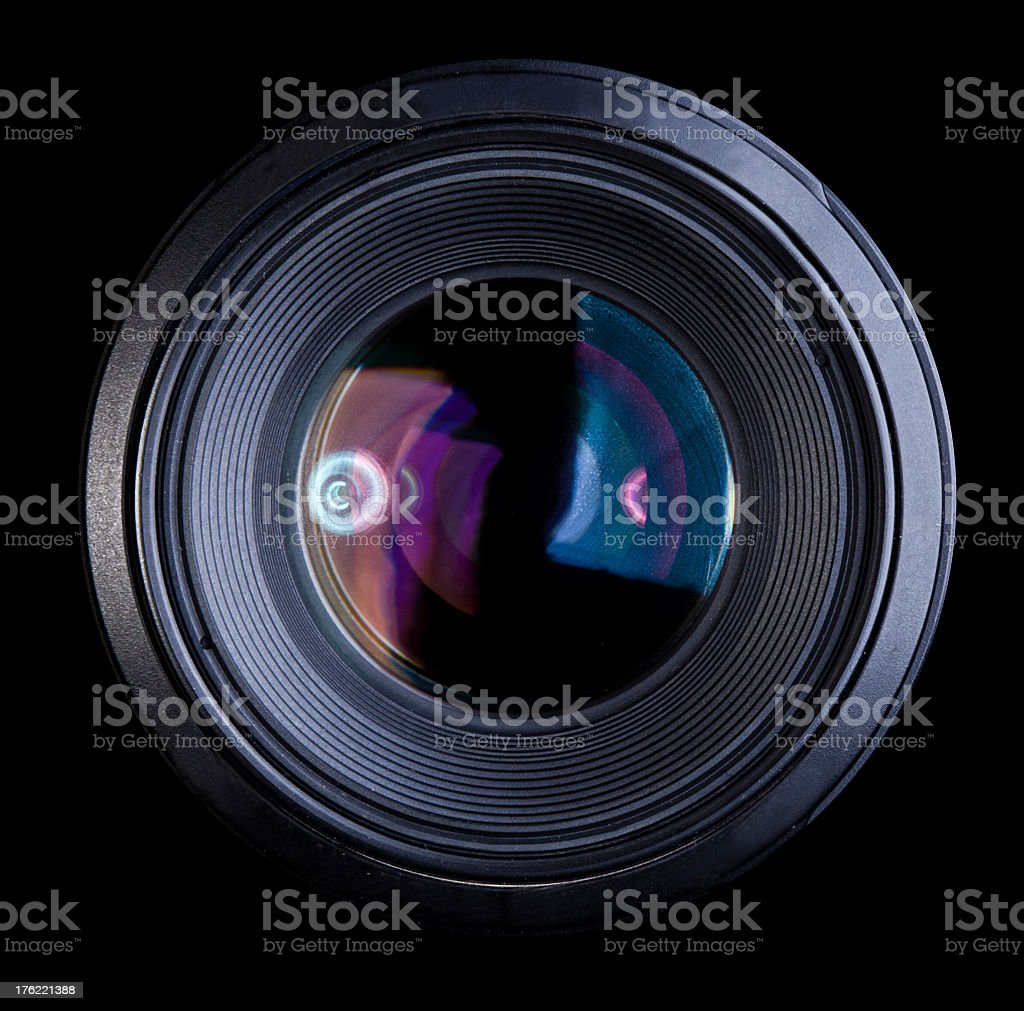 Close up of a large camera lens stock photo