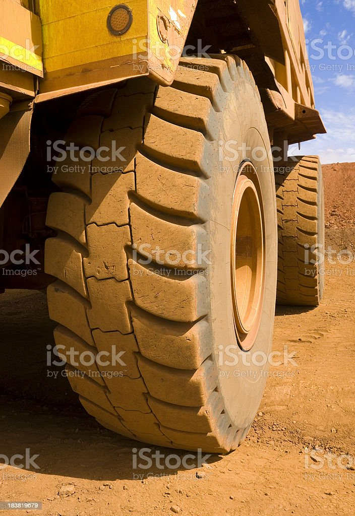 Close up of a large mine site truck tyre. royalty-free stock photo