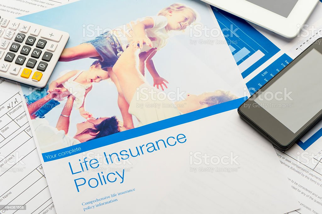 Close up of a Life insurance policy stock photo