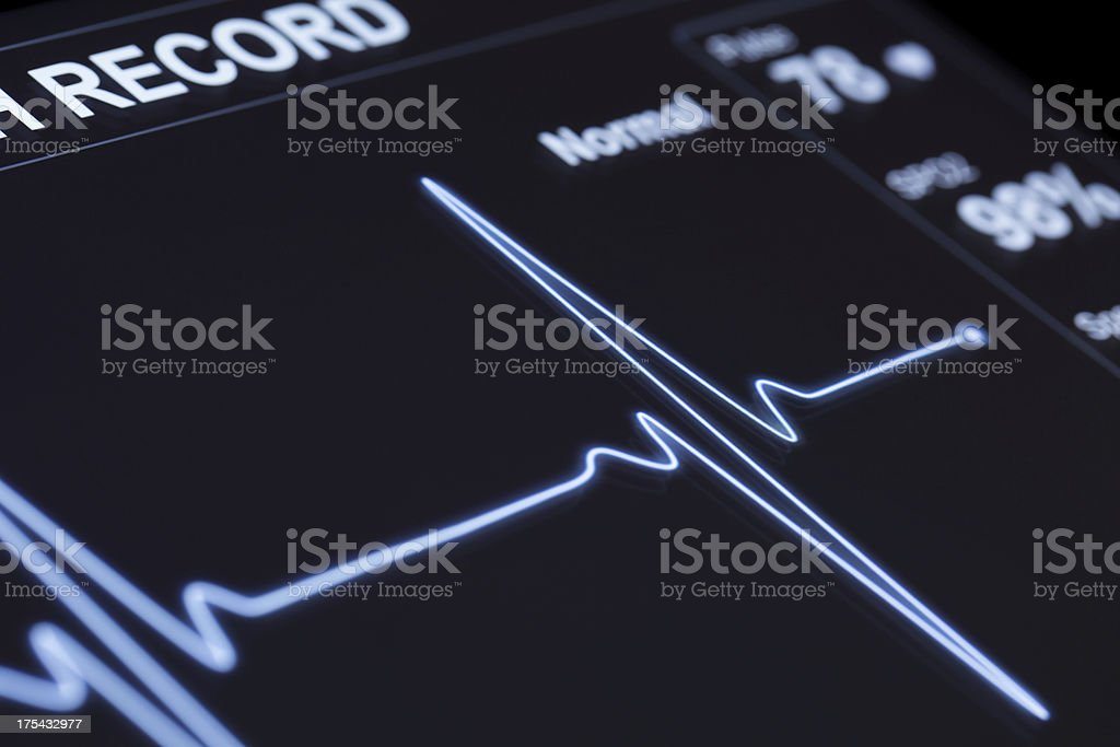 A close up of a machine that monitors pulse stock photo