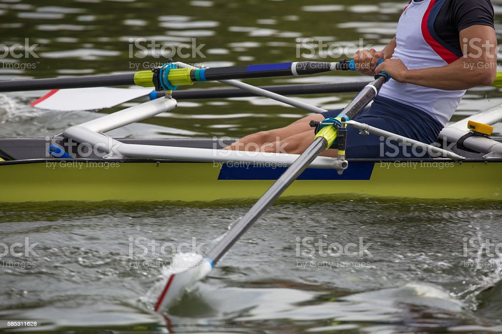 Close up of a male rower on the river Thames stock photo