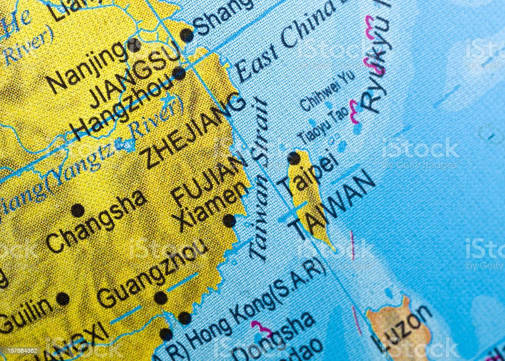 Close up of a map of The Taiwan Strait. royalty-free stock photo