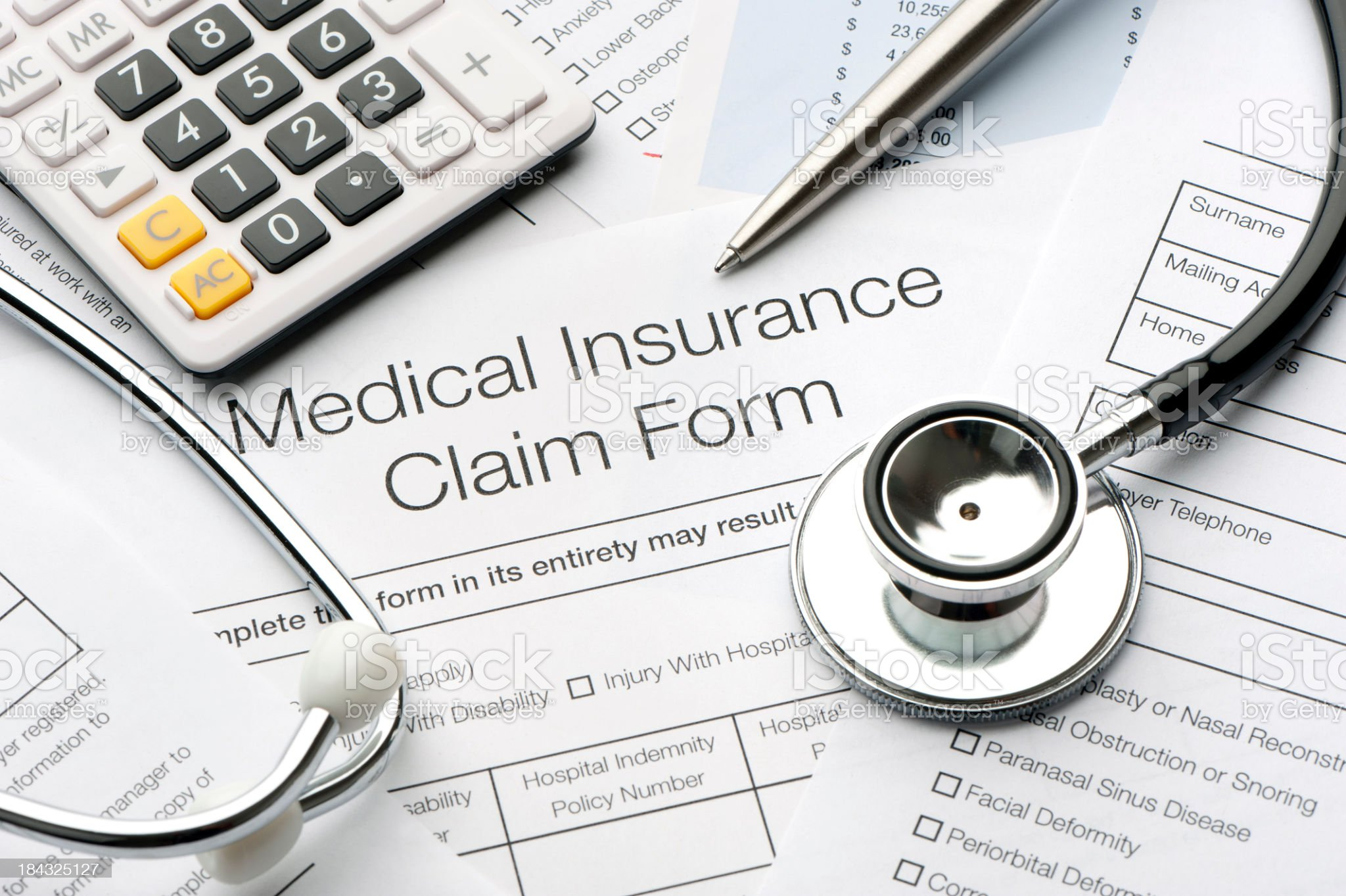 Close up of a medical insurance form royalty-free stock photo