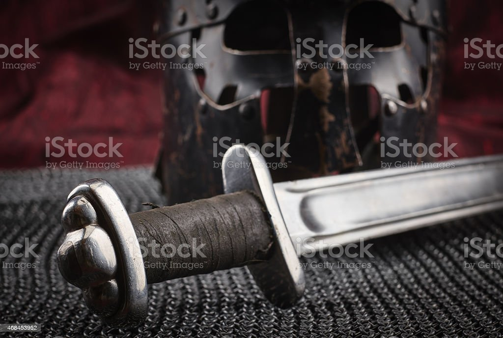 A close up of a medieval sword stock photo