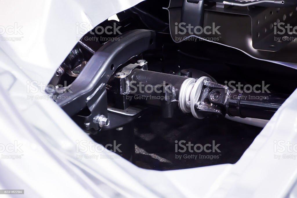 close up of a metal steel drive shaft stock photo