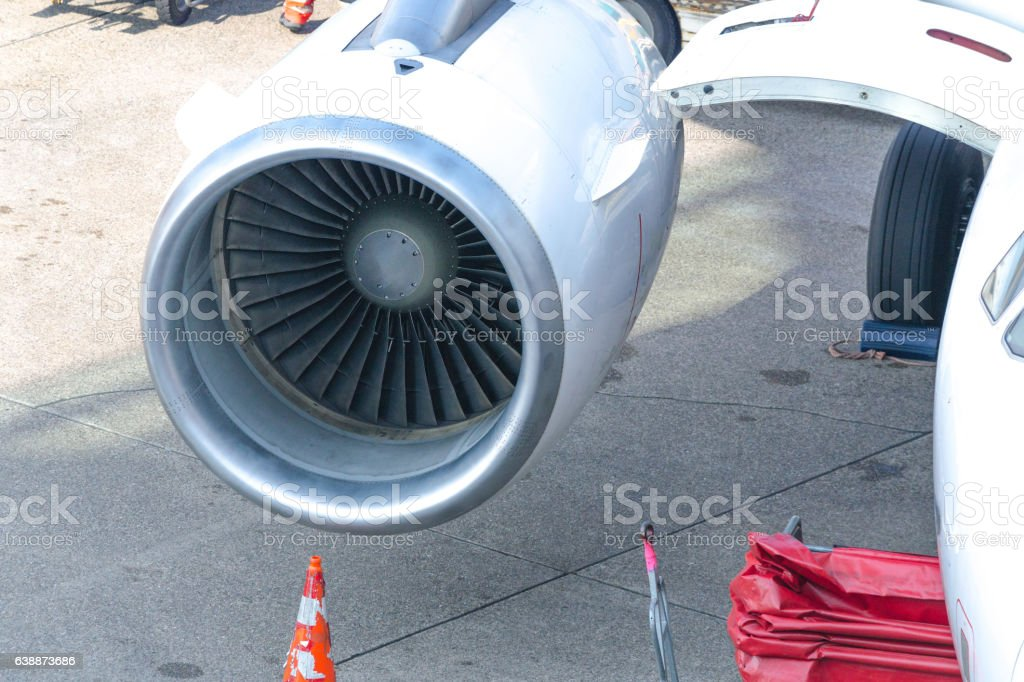Close up of a modern airplane engine stock photo