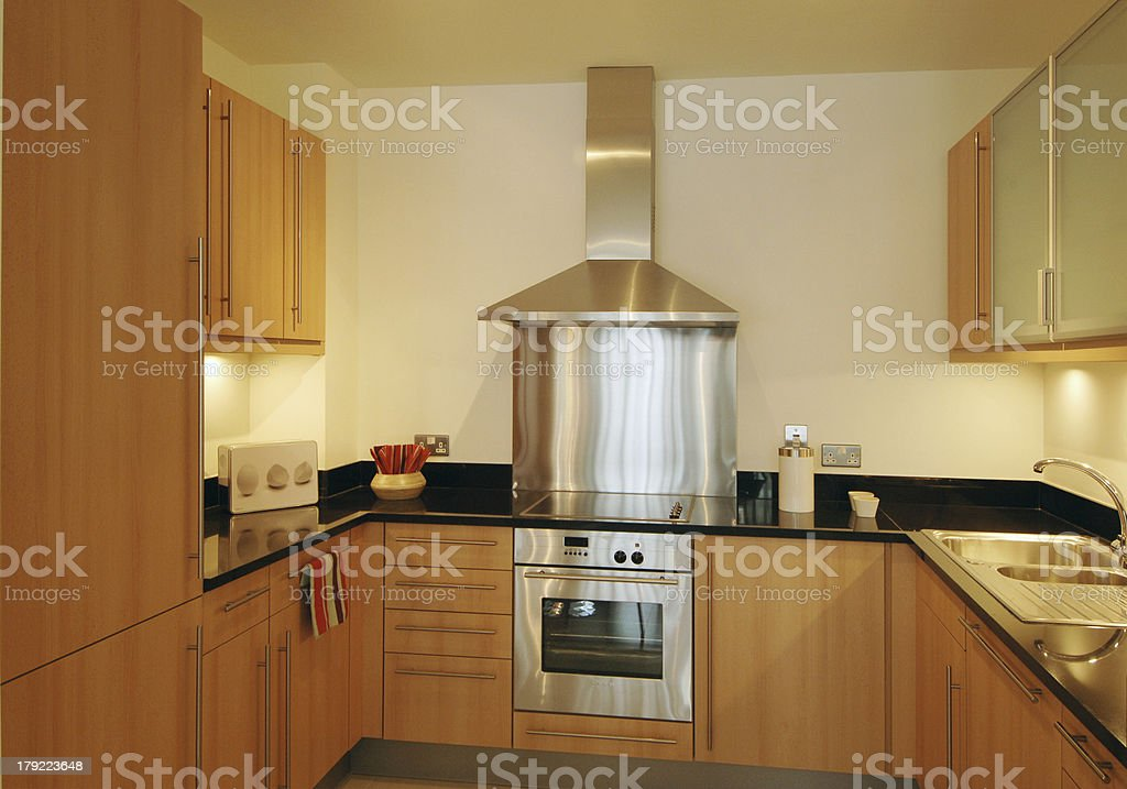 Close up of a Modern Domestic Apartment Kitchen stock photo