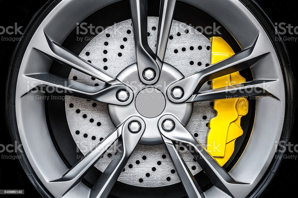 Close up of a modern sport wheel stock photo