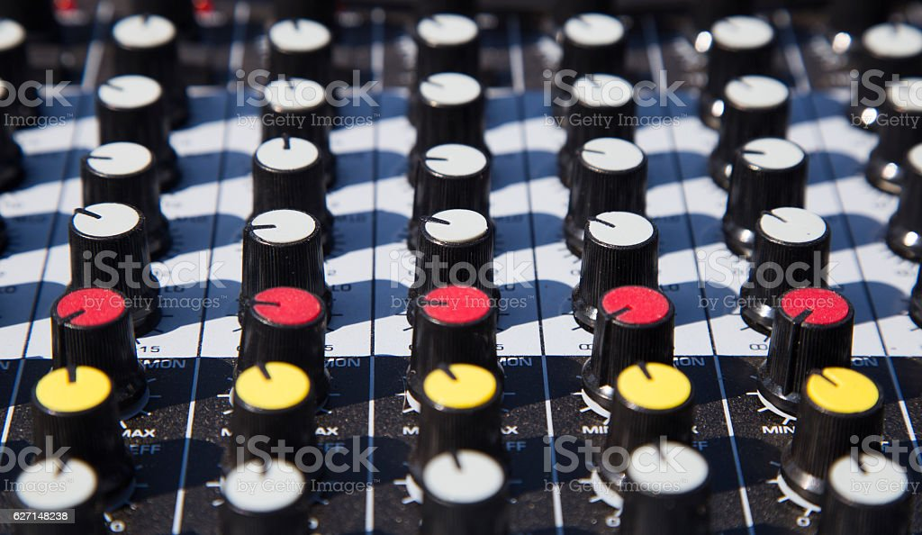 Close up of a music sound mixer stock photo