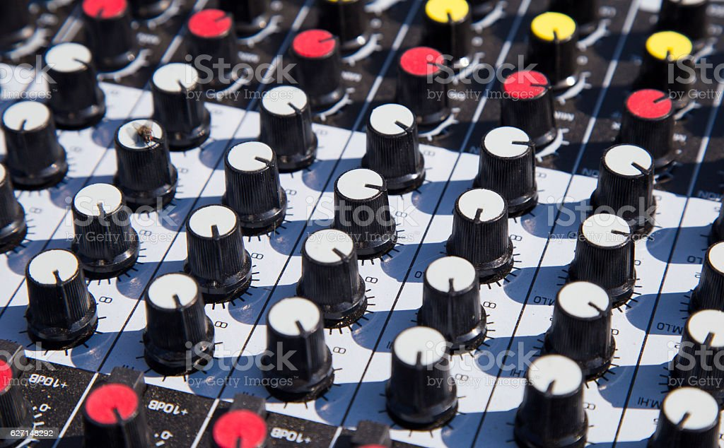 Close up of a music sound mixer stock photo