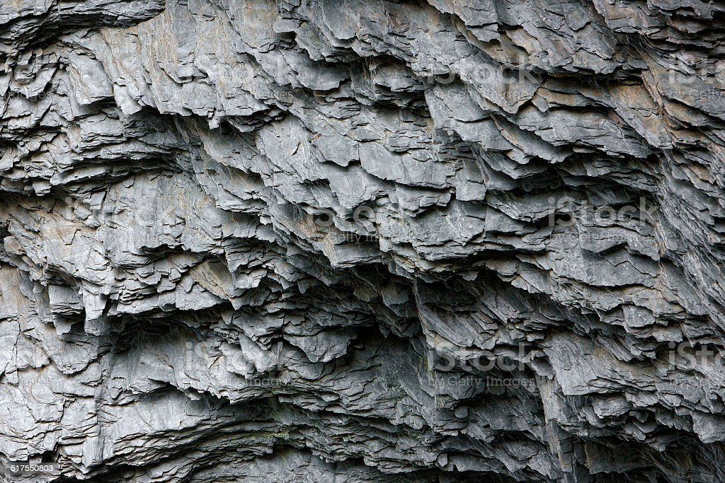 Close up of a natural Shale Sedimentary rock face stock photo