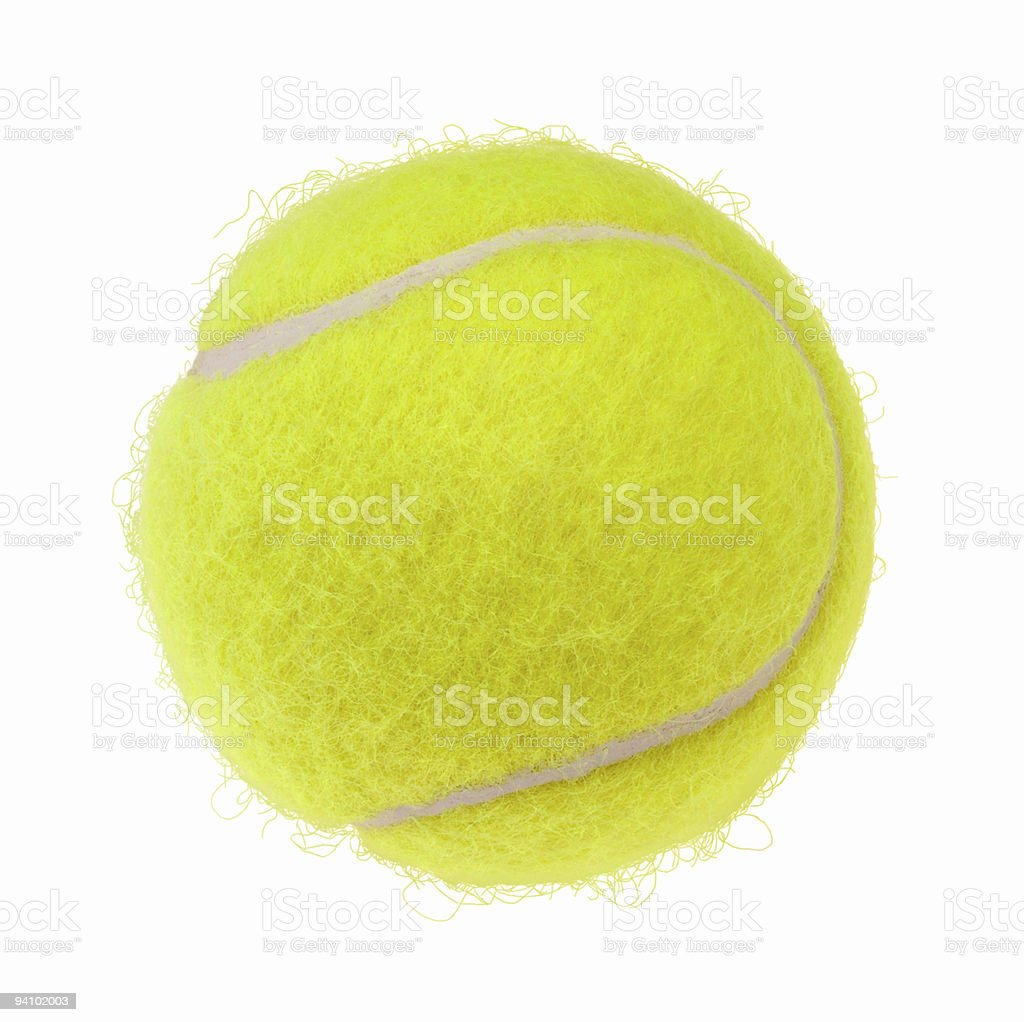 Close up of a new Tennis ball on a white background stock photo