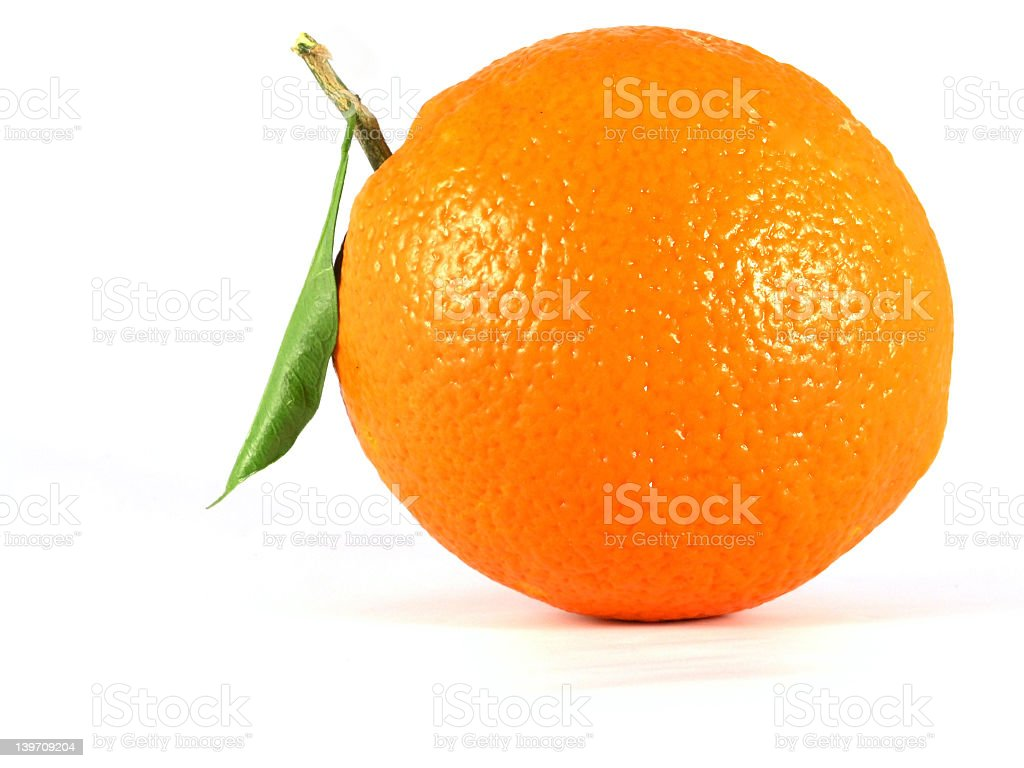 Close up of a orange on a white background royalty-free stock photo