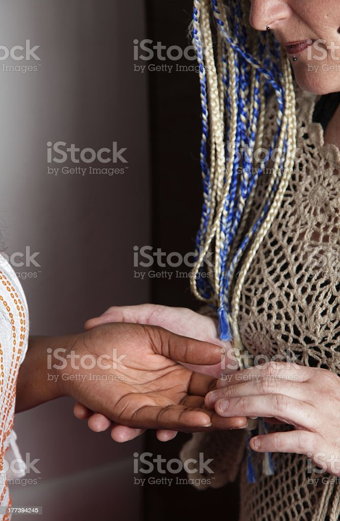 close up of a palm reading stock photo