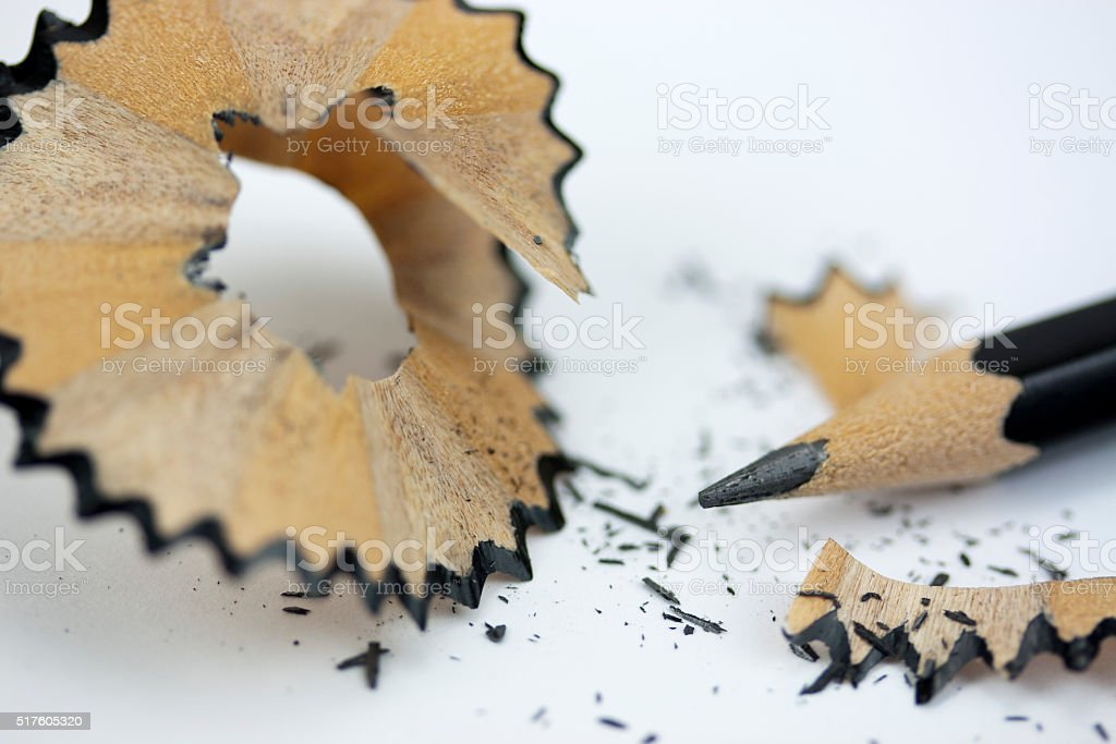 Close up of a pencil being sharpened stock photo