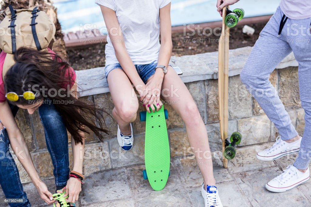 Close up of a penny board,summer concept stock photo