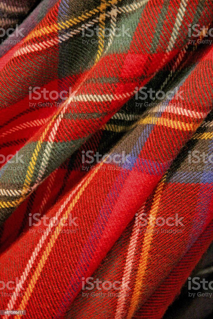 Close up of a piece of red Scottish tartan fabric stock photo