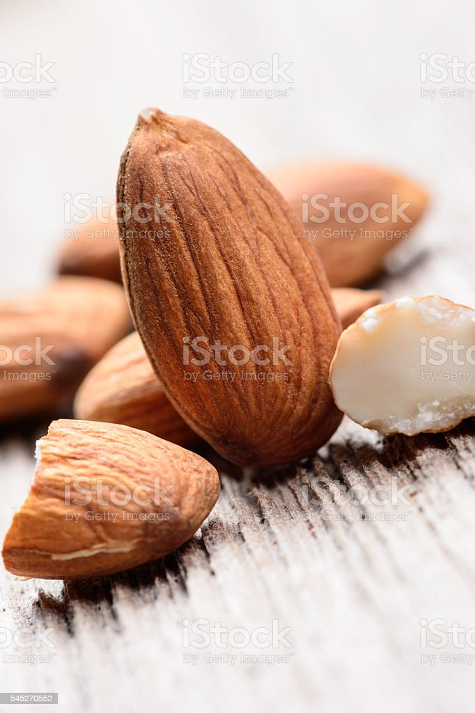 Close up of a pile of almonds stock photo