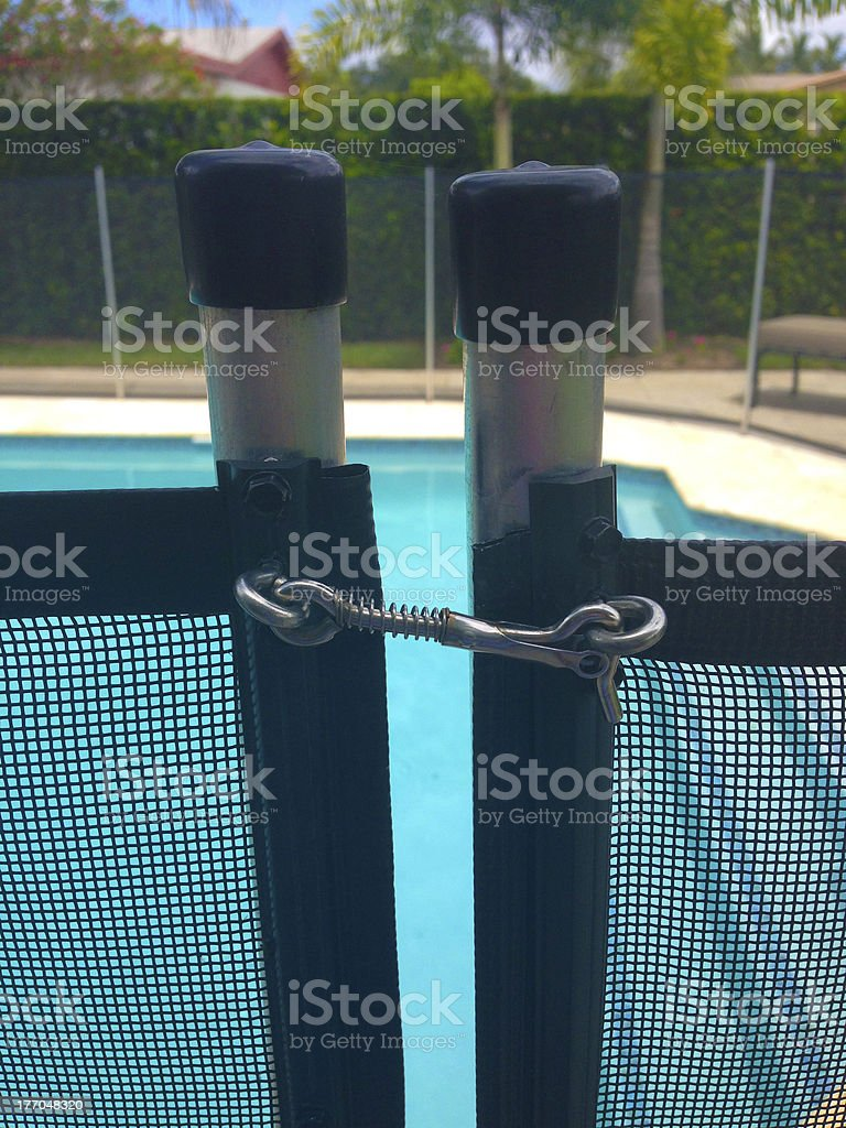 Close up of a pool fence stock photo