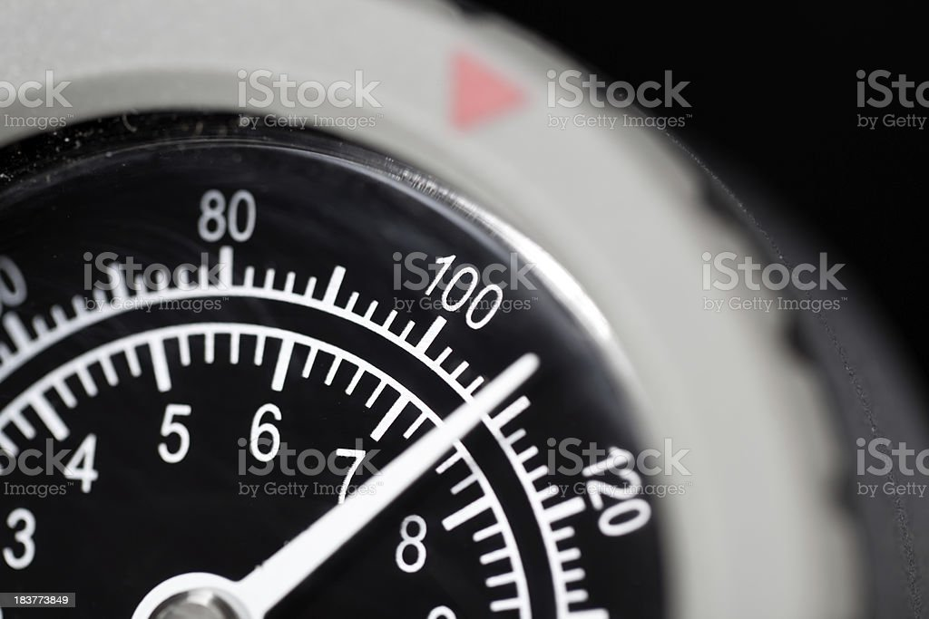 Close up of a Pressure Gauge Dial at 110 stock photo