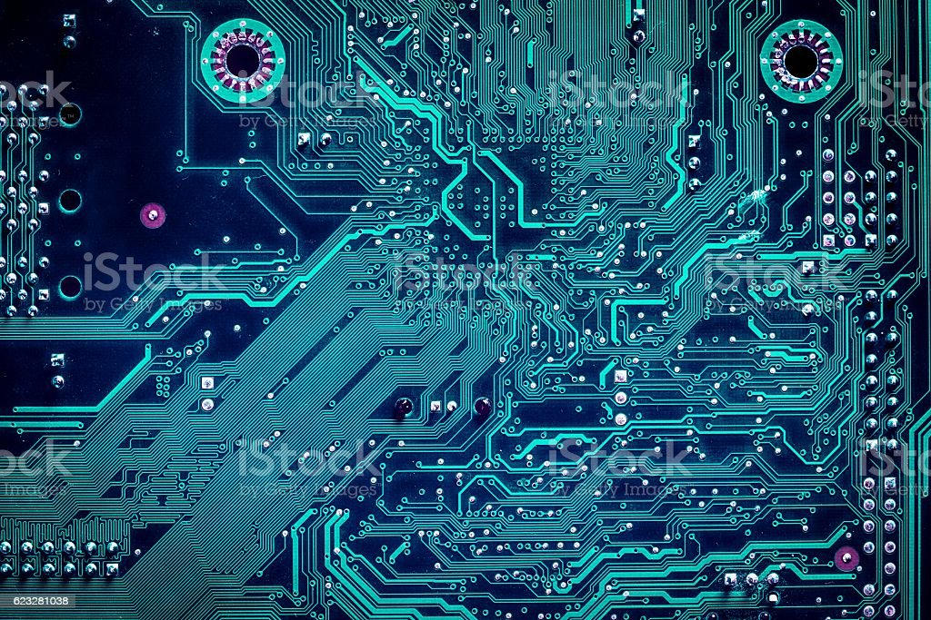 Close up of a printed computer circuit board stock photo