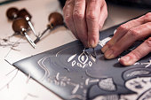 Close Up of a Printmaker Artist At Work