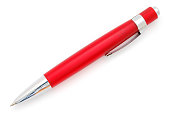 A close up of a red and silver pen