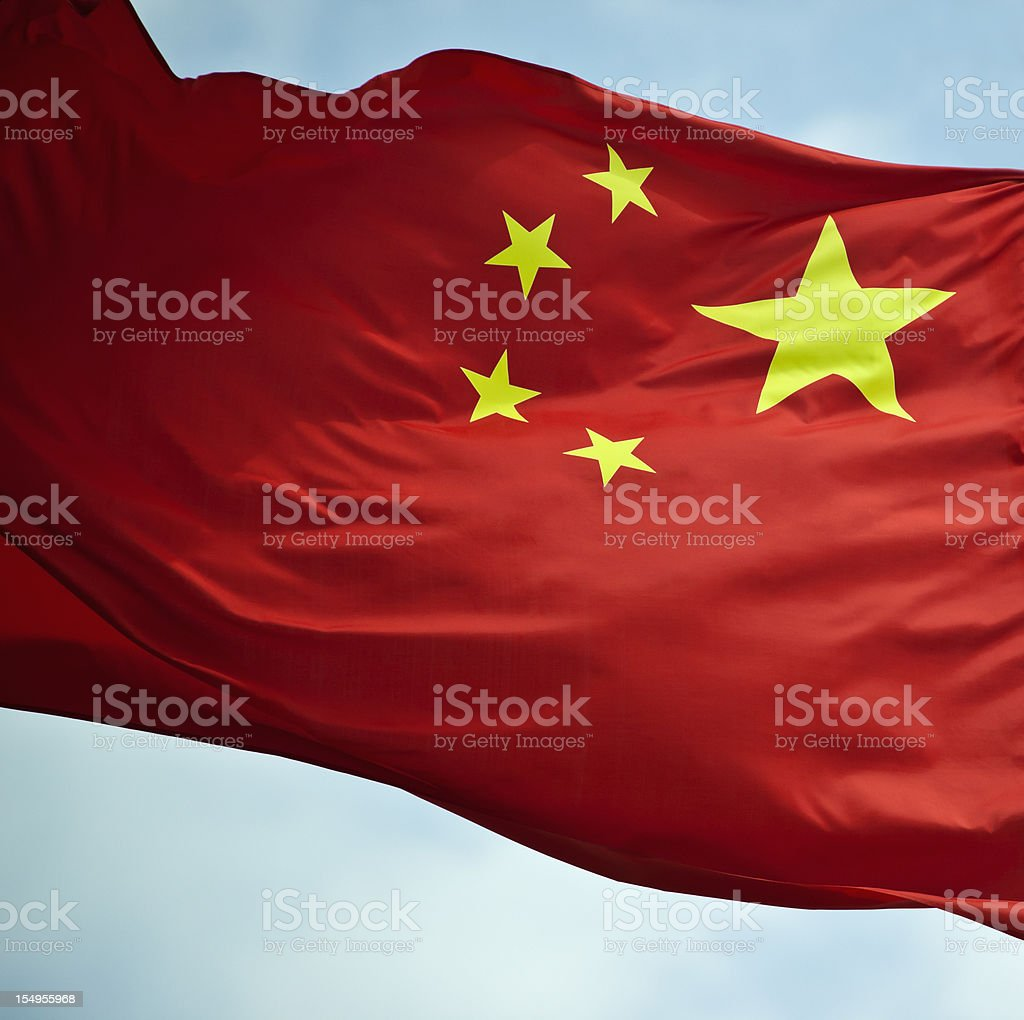A close up of a red and yellow China flag royalty-free stock photo