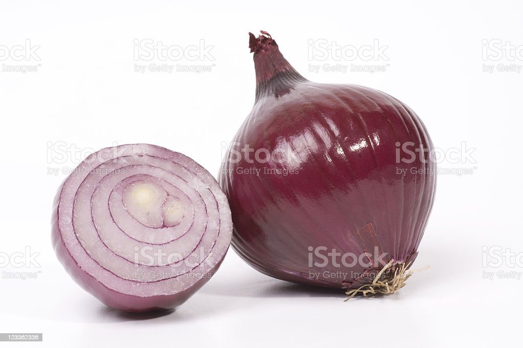 Close up of a red onion stock photo