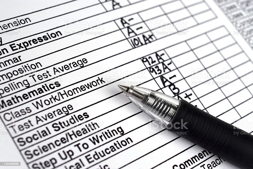 Close up of a report card with a pen stock photo