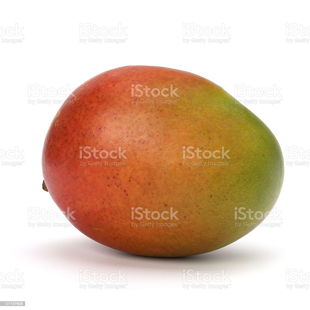 Close up of a ripe red and green mango royalty-free stock photo