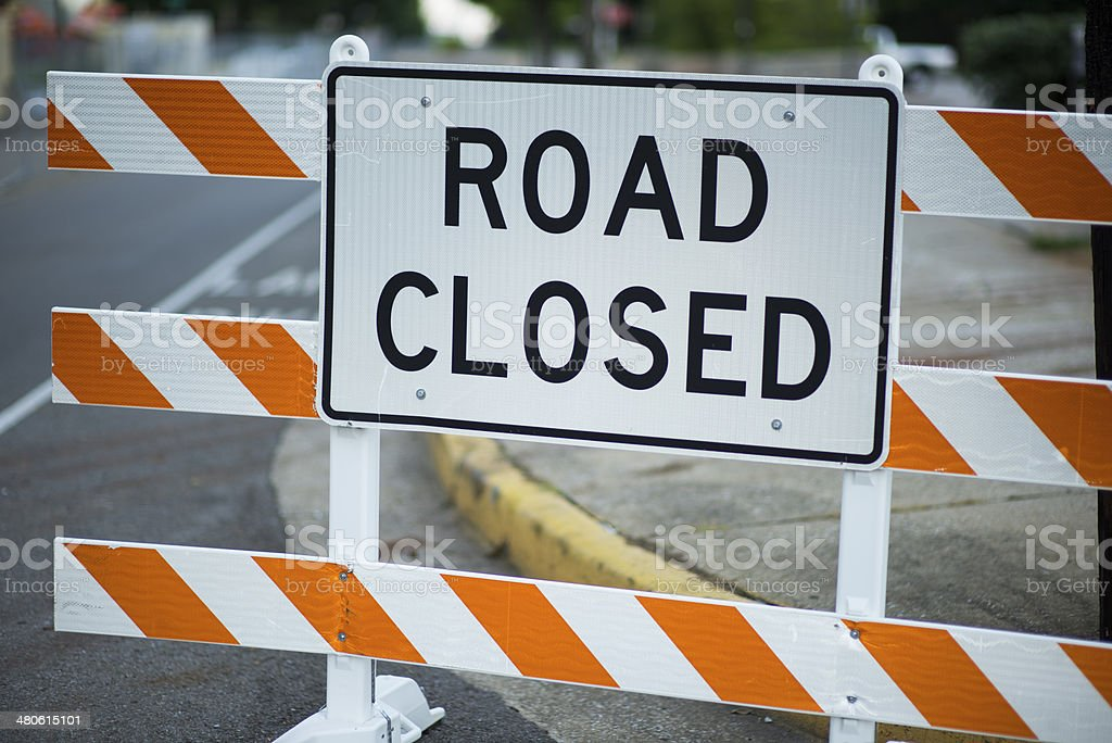 Close up of a Road Closed Sign during Road Construction stock photo