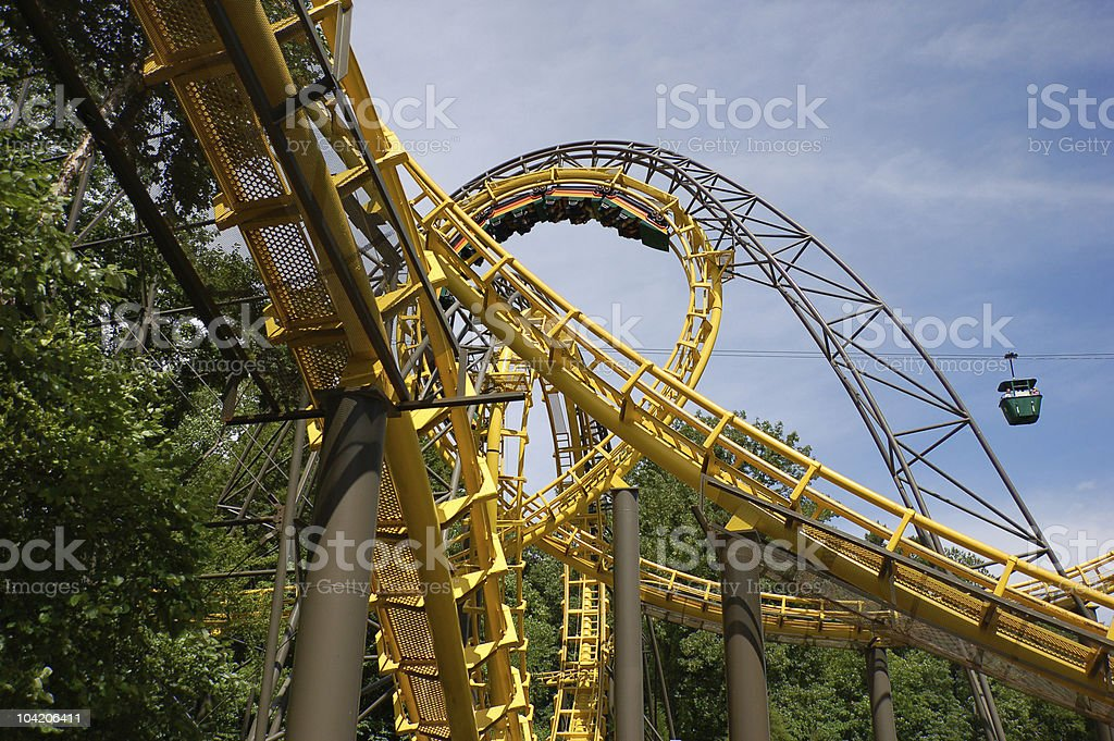 Close up of a roller coaster track stock photo