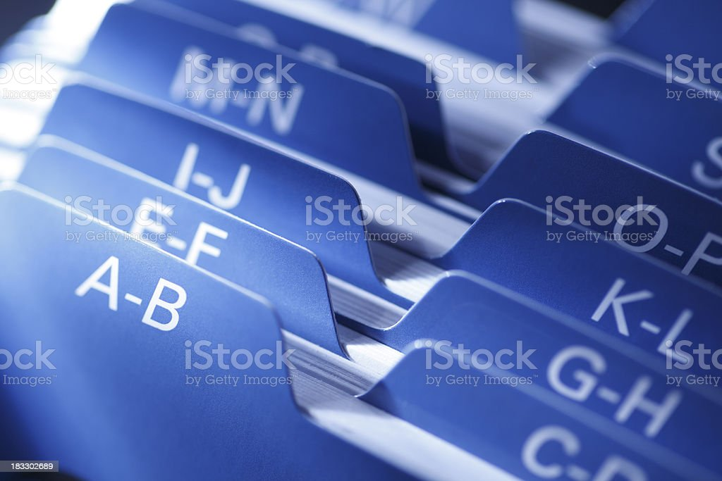 Close up of a Rolodex card file stock photo