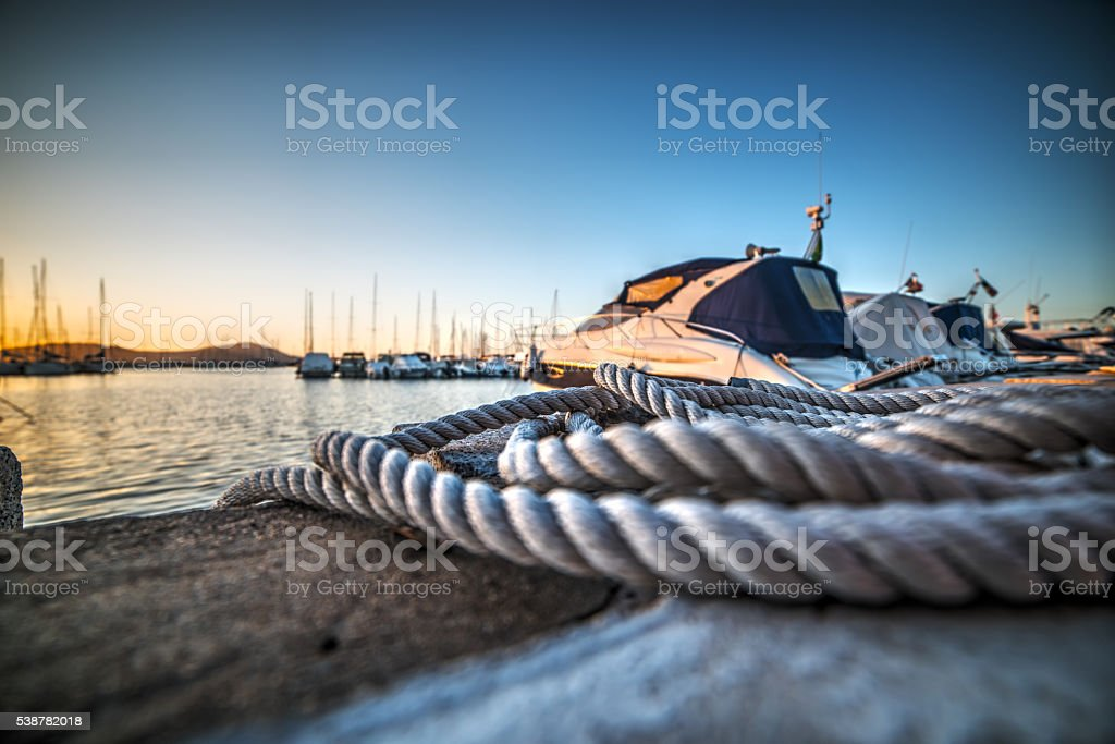 close up of a rope in Alghero harbor stock photo