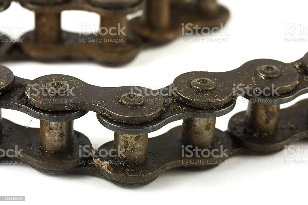 Close up of a rusty bike chain royalty-free stock photo