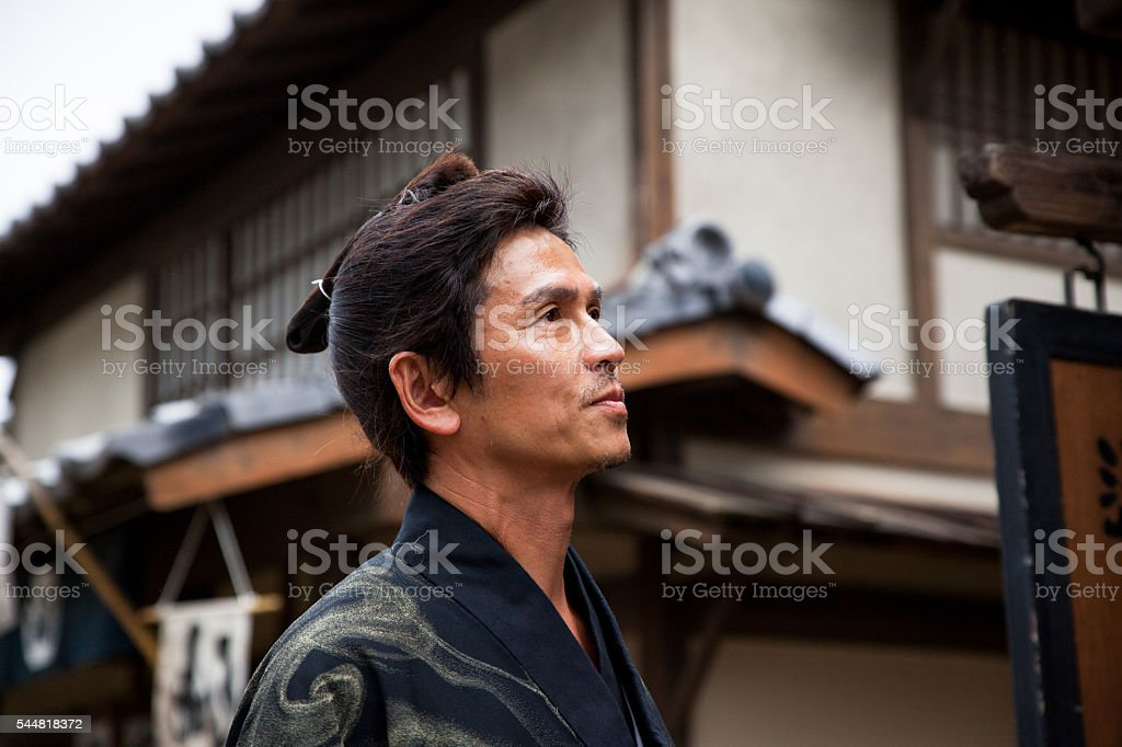 Close up of a Samurai Ninja stock photo