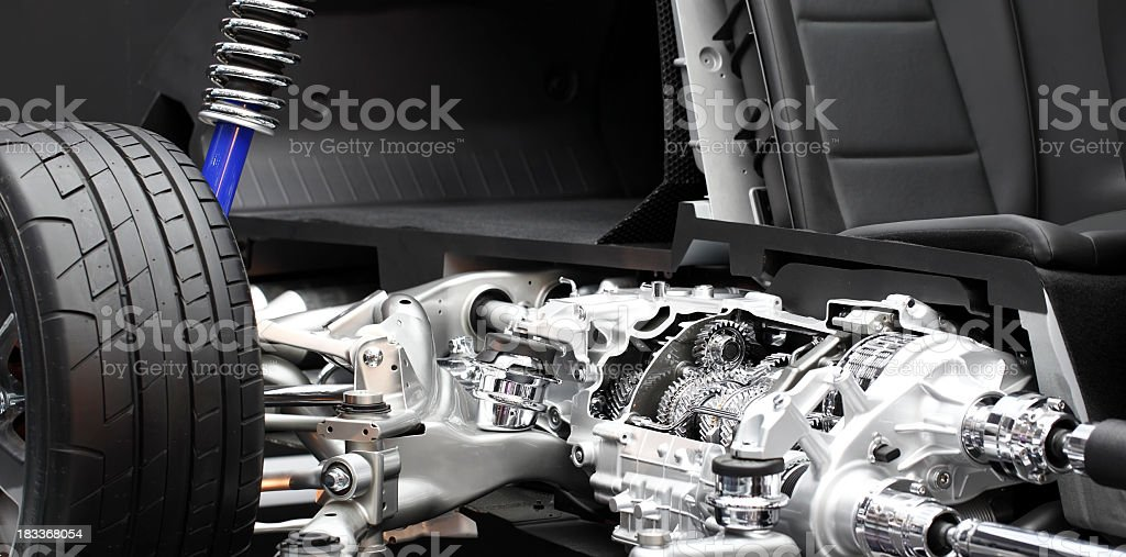 Close up of a section of a race car stock photo