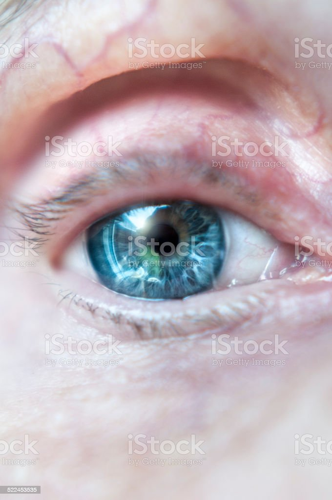 Close Up Of A Senior Womans Eye stock photo