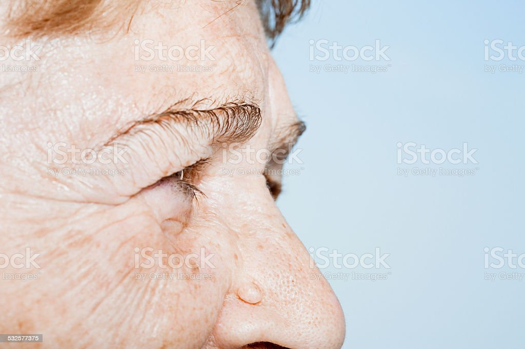 Close up of a senior woman's face stock photo