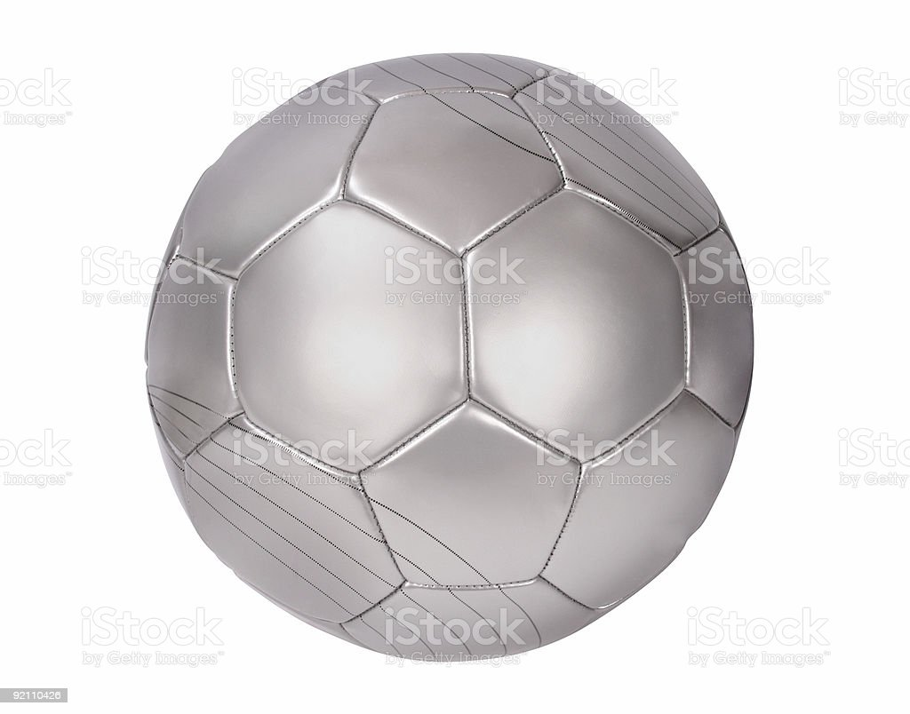 Close up of a silver football on white royalty-free stock photo