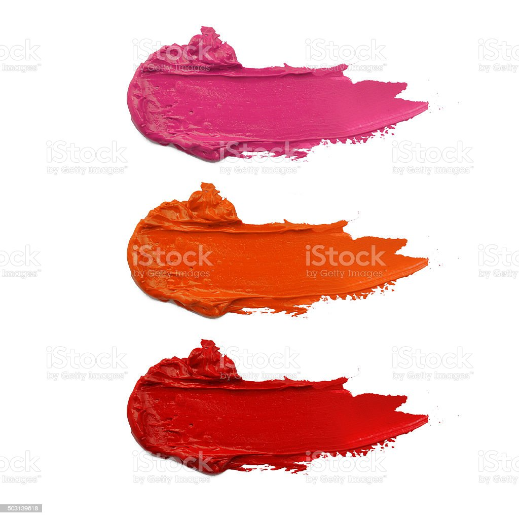 close up of a smudged lipstick stock photo