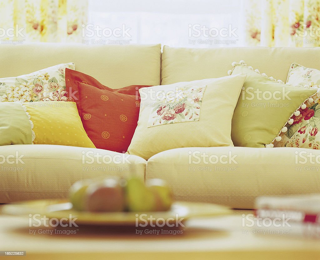 Close up of a sofa In Window with cushions royalty-free stock photo
