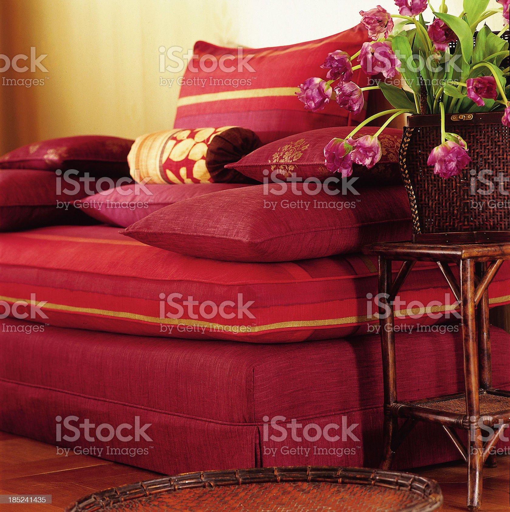 Close up of a sofa with cushions royalty-free stock photo